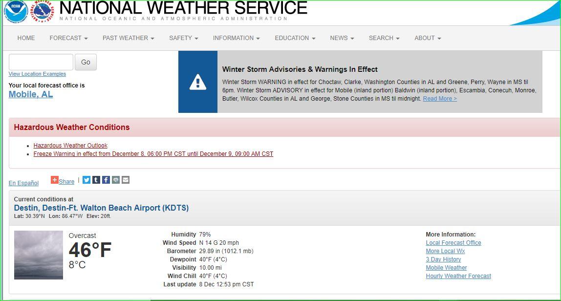 Destin Weather Dec 8